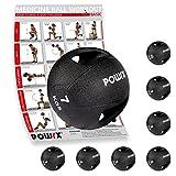 Medizinball mit Griffen Profi 3 - 10 kg von POWRX | schwarz Gewichtsball Studioqualität | schwarz Gewichtsball Studioqualität | schwarz (7 kg)