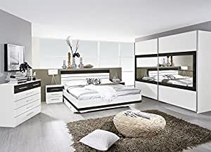 Matelpro-Chambre adulte complète contemporaine blanche/wengé Kamaro-160 x 200 cm