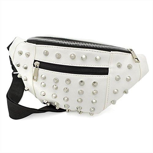 White Colour Studded Hip Belt Bum Bag