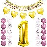 FCY 1Jahr Geburtstag Party Dekorationen Baby Junge Mädchen Rosa Blau Latex Luftballons Folie 12Monate Foto Wimpelkette Banner Babyshower Set. Pink&Gold