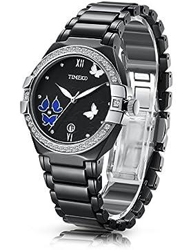 Time100 NEU Retro Damenuhr Schwarz Keramik Starass Armbanduhr Quarzuhr Mädchenuhr mit Datum Schwarz #W50354L.01A