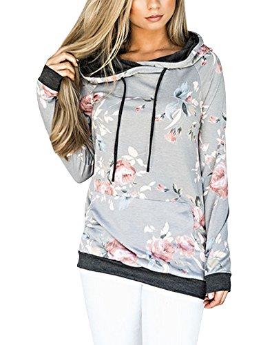 ShallGood Ecowishh Damen Blumen Kapuzenpullover Sport Hoodie Sweatshirts Oversize Oberteil Pullover Grau DE 42 (Top Mesh Damen Cropped)