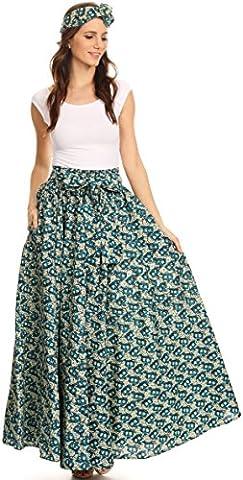 Sakkas 16317 - Asma Convertible Traditional Wax Print Adjustable Strap Maxi Skirt | Dress - 516-MintTurq -