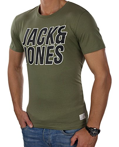 JACK & JONES Herren T-Shirt Jcomerlin jcotalent jormasked Tee Ss Crew Neck Grün (Deep Lichen Green Fit:SLIM CORE PRINT)