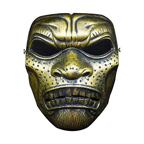 YaPin Halloween Horror Maske Erwachsene Schädel Maske Spartan Maske Feld Maske Armee Fan Outdoor Maske (Color : Antique Gold)