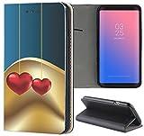 Samsung Galaxy S6 Hülle Premium Smart Einseitig Flipcover Hülle Samsung S6 Flip Case Handyhülle Samsung S6 Motiv (712 Abstract Herz Herzen Blau Gold Rot)