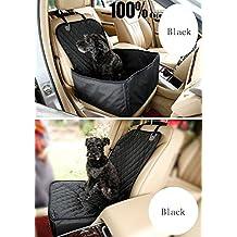 LaCyan Funda para asiento delantero de mascota 2 en 1 Pet Carrier Seat Protector para todos los coches (negro)