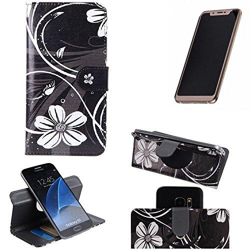 K-S-Trade Schutzhülle für Doogee V Hülle 360° Wallet Case Schutz Hülle ''Flowers'' Smartphone Flip Cover Flipstyle Tasche Handyhülle schwarz-weiß 1x