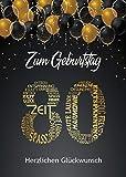 Elegante Glückwunschkarte Geburtstag Geburtstagskarte A5 mit Nummer 80 und Glückwünschen Schwarz Gold (80. Geburtstag Gold 1)