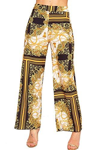 WEARALL - Femmes Rétro Imprimer Évasée Large Jambe Élevé Taille Pantalon Dames Palazzo Pantalon - 34-42 Moutarde