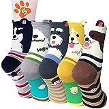 Calcetines mujer invierno 5 pares, calcetines de algodón divertidos para mujer con estampado de perro, gruesos térmicos multipack calcetines cortos ideales para mujeres niñas regalos de Navidad