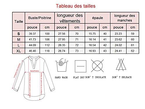 Yidarton Chemise Femme Longue à Manches Longues 3/4 Col V Mousseline Top Tunique Blouse Chemisier Shirt Noir