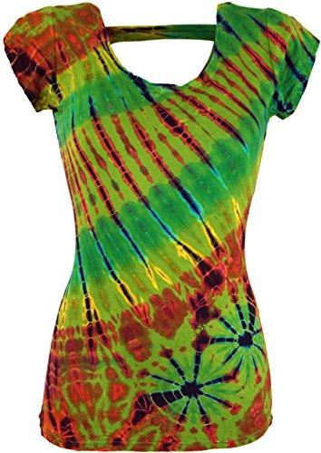Guru-Shop Batik Hippie T-Shirt, Damen, Grün, Synthetisch, Size:38, Tops, T-Shirts, Shirts Alternative Bekleidung