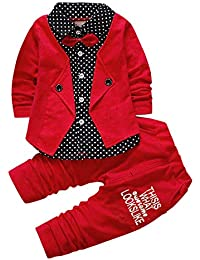 Si Noir by Hopscotch Boys Pre Order : Red Applique Bow Formal Shirt and Pant Set-12-18 Months