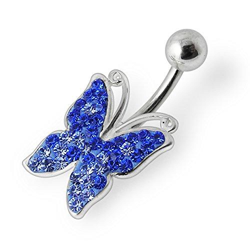 Bijou de Corps anneau de nombril en argent en forme de papillon avec cristaux multiples fantaisie Lavender
