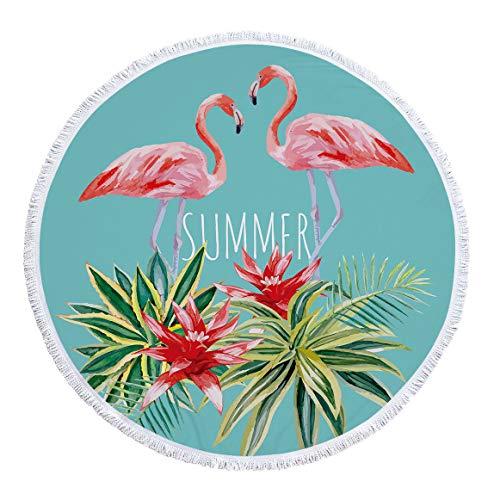 xkjymx Toalla de Playa Redonda de Microfibra Toalla de baño Estampado Flamenco con Borla 150cm Figura 3 150X150cm