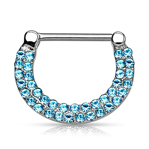 Piercingfaktor Intimpiercing Brustpiercing Clicker Ring mit Kristallen Silber / Aqua - 1,2mm