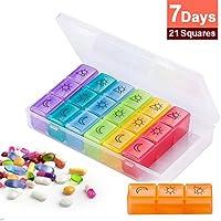 Organizer, Multi-fach Design Pillendose Tablettenbox Spender mit Regenbogen Farbe Weekly 3Times A Tag für Reisen... preisvergleich bei billige-tabletten.eu