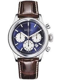 Davosa Herren Automatik Uhr mit blauem Zifferblatt Chronograph-Anzeige und braunem Lederband 16100645