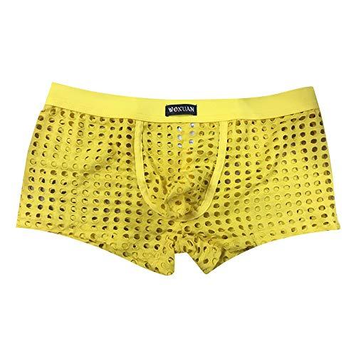 Calzoncillos amarillos elásticos con cuadros pequeños