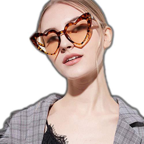 WERERT Sportbrille Sonnenbrillen Love Heart Sunglasses Women Cute Sexy Female Retro Cat Eye Sun Glasses Vintage Glasses Flash Eyewear