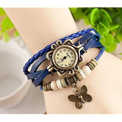 Viskey - Originali orologi da donna in forma di braccialetto stile vintage, pendente a farfalla no.12