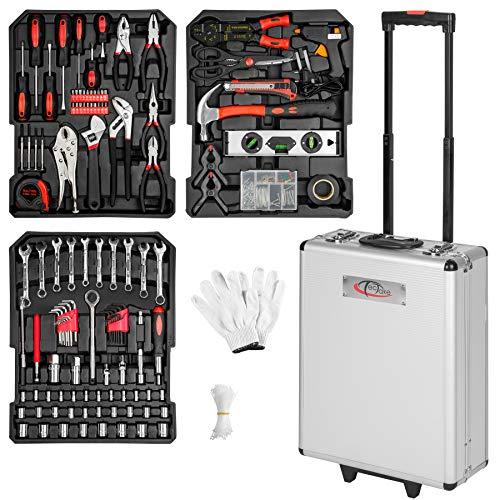 TecTake 577 pièces Mallette à outils trolley valise boite à tire caisse aluminium 3 tiroirs