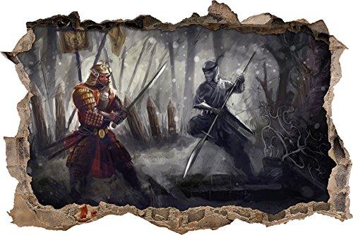 Kampf zwischen Samurai und Ninja Wanddurchbruch im 3D-Look, Wand- oder Türaufkleber Format: 92x62cm, Wandsticker, Wandtattoo, Wanddekoration