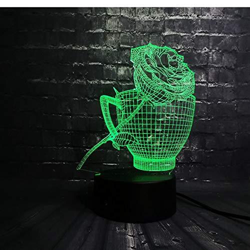 se Blume Coffe Cup Shop Dekoration Usb Lampe Schlaf Licht 7 Farbwechsel Weihnachtsgeschenk Usb Basis Batterie ()