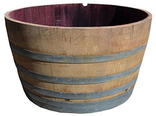 Großes 250 l Weinfass aus Eichenholz, Holzfass halbiert - Als Pflanzkübel oder Teichfass (Fass...