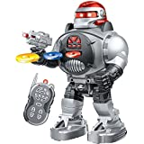 Remote Control Robot - RoboShooter Black & Red - Fires Discs, Dances, Talks - Super Fun RC Robot by ThinkGizmos