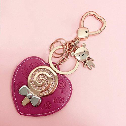er männlich und weiblich Auto Schlüsselanhänger Kette Ring Ornament Kuhfell Liebe Herz ( Color : Red ) (Bulk-ornamente)