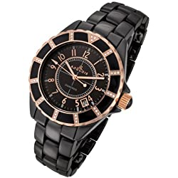 Rougois Women's High Tech Black Ceramic Watch Rose Gold Accents 36 Genuine Diamonds
