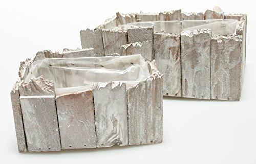 Madera Jardinera de acero madera gris rectangular 2unidades caja de madera Jardinera...