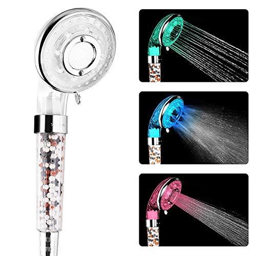 YYBFG Hochdruck-Anti-Kalkstein-Duschkopf mit LED, Duschkopf Update 45% Wasserersparnis, 3 Duschmodi Erweichen hartes Wasser, Extra mineralische Filterkugeln -