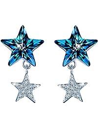 7aa7ff19fb01 Infinito U - Pendientes para Mujer Plata de Ley 925 Circonita Cúbica Doble  Estrellas con Cristal Azul