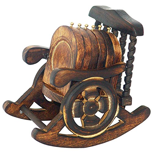 Super India Untersetzer, Holz, Antik-Optik, handgefertigt, verziert, in Schaukelstuhl-Ständer, Set mit 6Stück Holz Serveware