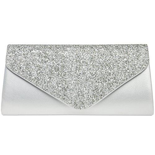CASPAR TA332 Damen elegante große XL Envelope Glitzer Clutch Tasche Abendtasche, Farbe:silber