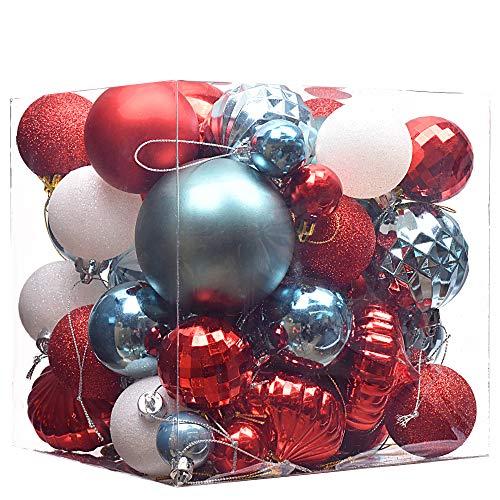 Victor's Workshop 50Pcs Bolas de Navidad Decoracion Arbol Navidad 40-80mm Surtido de Adornos para el árbol de Navidad Adornos de Navidad del árbol de Navidad Rojo y Azul a Prueba de roturas