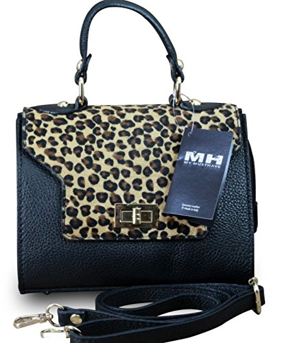 Made in italy sac à main/pochette de soirée sac à main femme en cuir noir hobo en fourrure véritable marron