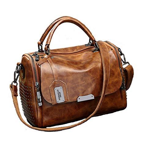 6e8fd6d28a Modesty Borsa a tracolla in pelle PU rivetto borsa moda boston borsa da  donna per donna stile selvaggio (Marrone) WW005