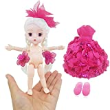 Finger Girl 1/8 Cute 15cm 5.9 inch Mini Doll BJD jointed dolls ABS + Clothes Dress For Child Gift (Rose)