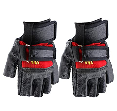SaySure - Sports Adjustable Bike Bicycle Cycling Goat Leather Silicone Half Finger Gloves Red - GMN-BG-SPT-000081
