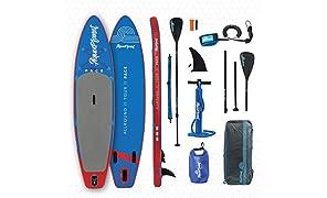 "AQUAPLANET 10ft 6"" x 15cm PACE Stand Up Paddle board kit.Air Pump With Pressure Gauge,Adjustable Aluminium Floating Paddle, Repair Kit,Heavy Duty Rucksack,Premium Leash & 4 Kayak Seat Rings"