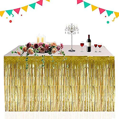 eabb59c63 Table Skirt Faldón de Mesa Decorativo Dorado metálico con Flecos de Papel  de Aluminio para Fiestas, decoración Hawaiana, Suministros de día ...