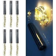 XuBa 6Pcs 2M 20 Leds Botella de Vino Solar Tapón Alambre de Cobre Estrellada Luz de