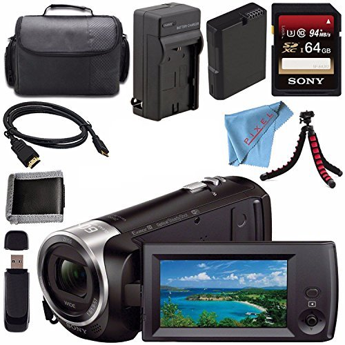 ThePixelConnexction Sony HDR-CX440 HDR-CX440/B HD Handycam with 8GB Internal Memory + Rechargable Li-Ion Battery + Charger + Sony 64GB SDXC Card + Case + Tripod + HDMI Cable + Card Reader + Fibercloth Bundle