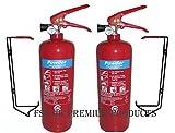 FSS UK Pack de 2 extintores de polvo ABC, 2 kg. Con certificado de calidad BSI KITEMARK, ideal para cocinas particulares, oficinas, coches, caravanas,