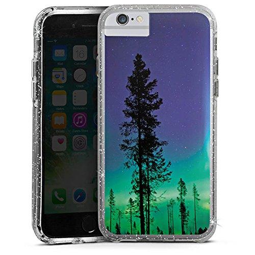 Apple iPhone 6s Plus Bumper Hülle Bumper Case Glitzer Hülle Baeume Himmel Mystisch Bumper Case Glitzer silber