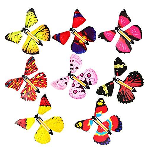 mxdmai Juquete 4pcs Juguete Accesorios Mágica Mariposa Que Vuela Wind Up Butterfly Toy Regalo de cumpleaños Color al Azar Creativo para niños